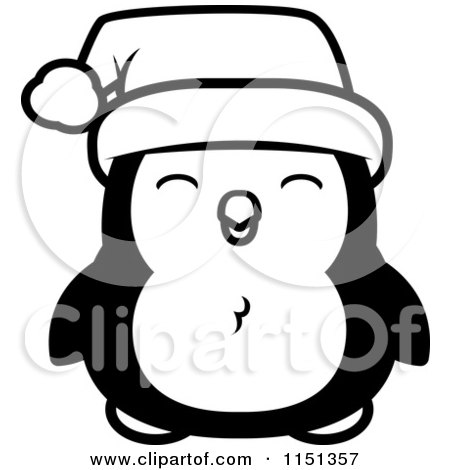 Cartoon Clipart Of A Black And White Happy Baby Christmas Penguin - Vector Outlined Coloring Page by Cory Thoman