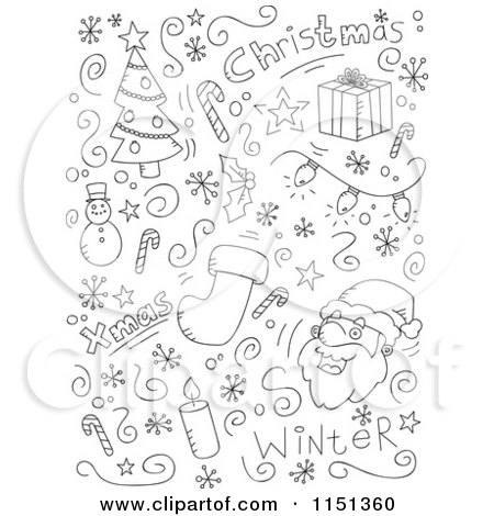 Cartoon Clipart Of A Black And White Holiday Doodle Background of ...