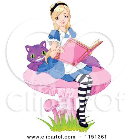 Cartoon of Alice and the Cheshire Cat Reading on a Mushroom - Royalty Free Vector Illustration by Pushkin