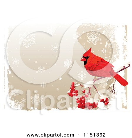 Clipart of a Red Cardinal Bird with Berries over a Grungy Snowflake Background - Royalty Free Vector Illustration by Pushkin