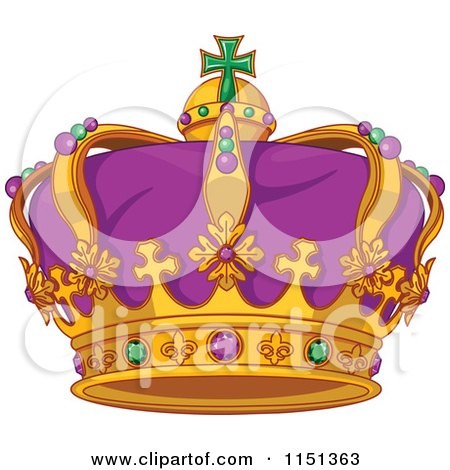Cartoon of a Purple Green and Gold Mardi Gras Crown - Royalty Free Vector Illustration by Pushkin