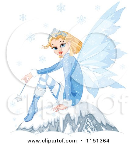 Cartoon of a Winter Fairy Princess Sitting on a Boulder Under Snowflakes - Royalty Free Vector Illustration by Pushkin
