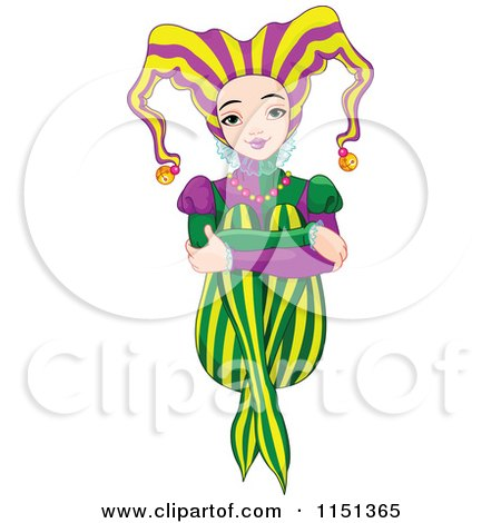 Cartoon of a Happy Mardi Gras Jester Girl Sitting with Her Arms over Her Knees - Royalty Free Vector Illustration by Pushkin