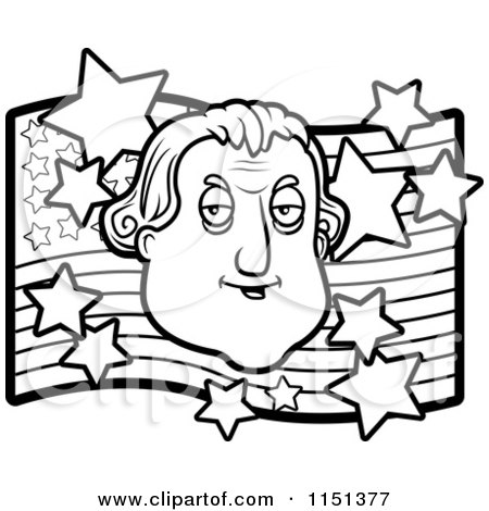 Cartoon Clipart Of A Black And White George Washington over an American Flag - Vector Outlined Coloring Page by Cory Thoman