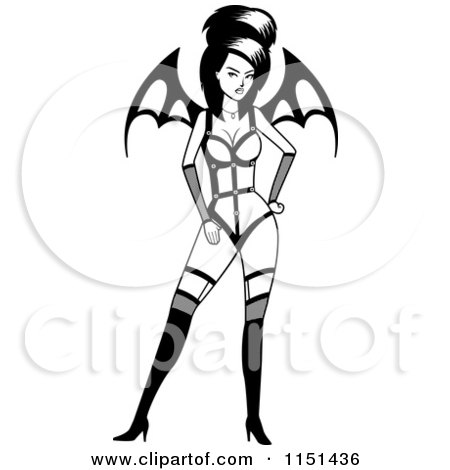 Cartoon Clipart Of A Black And White Sexy Vampiress With Wings - Vector Outlined Coloring Page by Cory Thoman