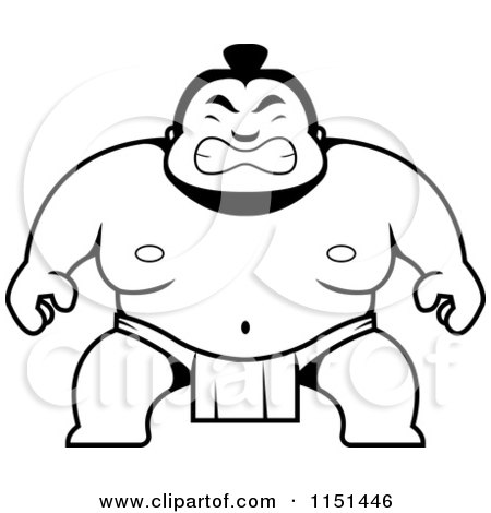 Cartoon Clipart Of A Black And White Sumo Guy Crouching - Vector Outlined Coloring Page by Cory Thoman
