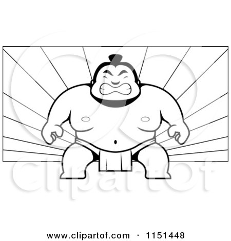 Cartoon Clipart Of A Black And White Tough Sumo Wrestler on a Ray Background - Vector Outlined Coloring Page by Cory Thoman