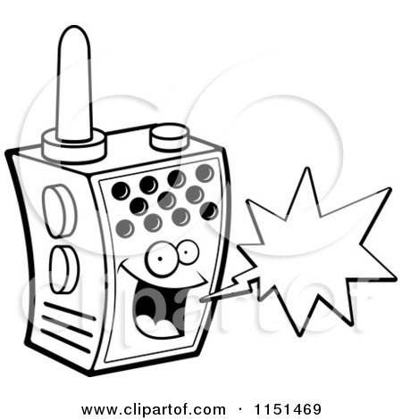 Cartoon Clipart Of A Black And White Happy Walky Talky Character with a Word Balloon - Vector Outlined Coloring Page by Cory Thoman