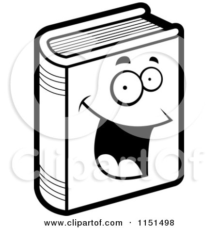 Cartoon Clipart Of A Black And White Happy Book - Vector Outlined Coloring Page by Cory Thoman