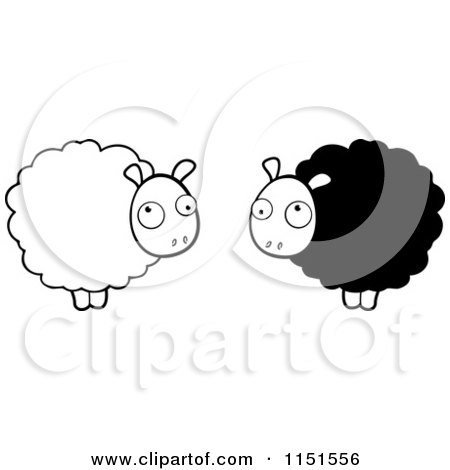 Cartoon Clipart Of Black And White Fluffy Sheep - Vector Outlined Coloring Page by Cory Thoman