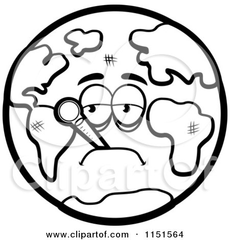 Cartoon Clipart Of A Black And White Sick Earth With A Thermometer
