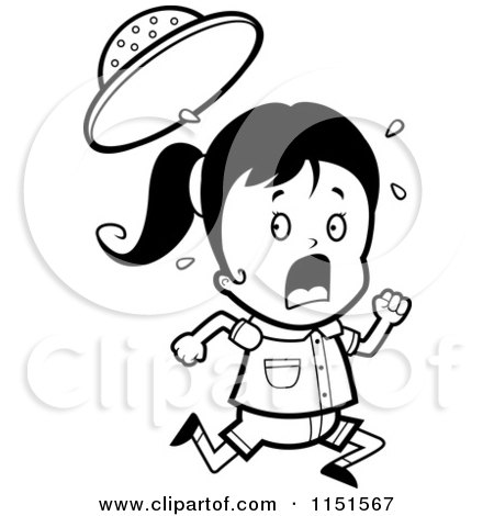 Cartoon Clipart Of A Black And White Scared Safari Girl Running
