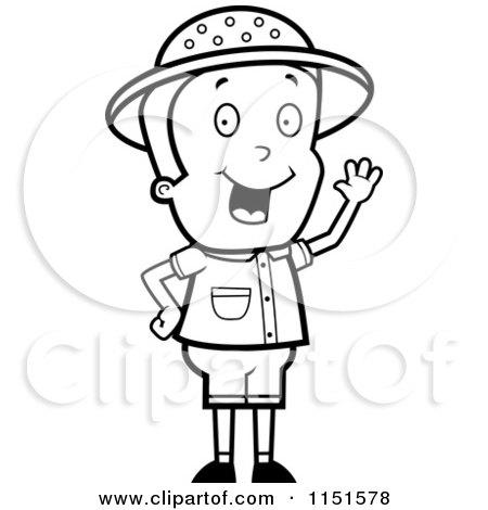 Cartoon Clipart Of A Black And White Waving Safari Boy