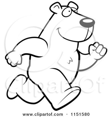 Royalty Free RF Polar Bear Running Clipart
