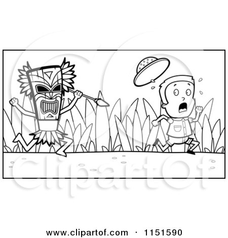Cartoon Clipart Of A Black And White Scared Explorer Kid Running from a Tribal Man with a Spear - Vector Outlined Coloring Page by Cory Thoman