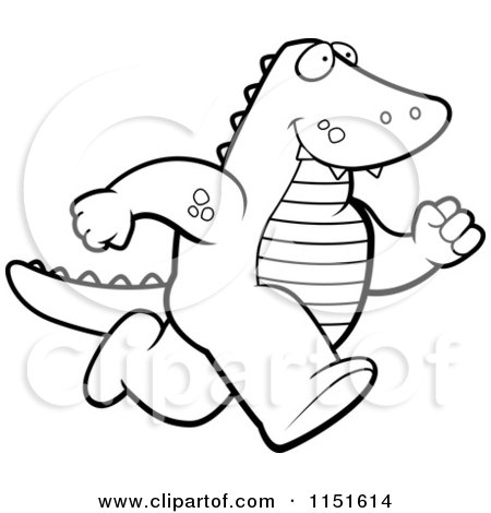 cartoon clipart of a black and white alligator running upright ... - Alligator Clip Art Coloring Pages