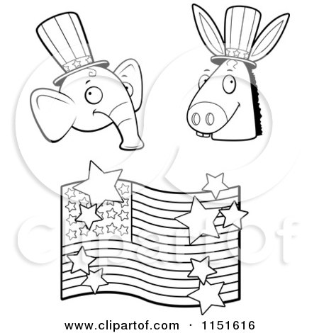 Cartoon Clipart Of A Black And White Republican Elephant, Democratic Donkey and American Flag - Vector Outlined Coloring Page by Cory Thoman