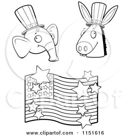 Republican Symbol Coloring Page Sketch Coloring Page