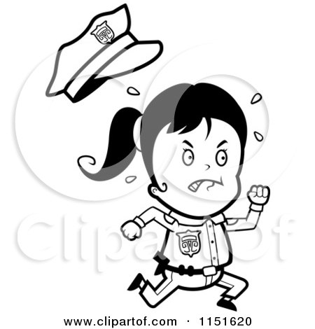 Cartoon Clipart Of A Black And White Running Police Girl - Vector Outlined Coloring Page by Cory Thoman