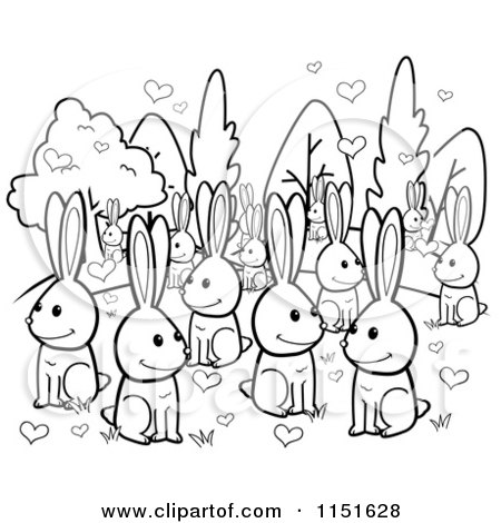Cartoon Clipart Of A Black And White Crowd of Amorous Rabbits with Hearts - Vector Outlined Coloring Page by Cory Thoman