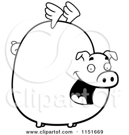 Cartoon Clipart Of A Black And White Fat Flying Pig with
