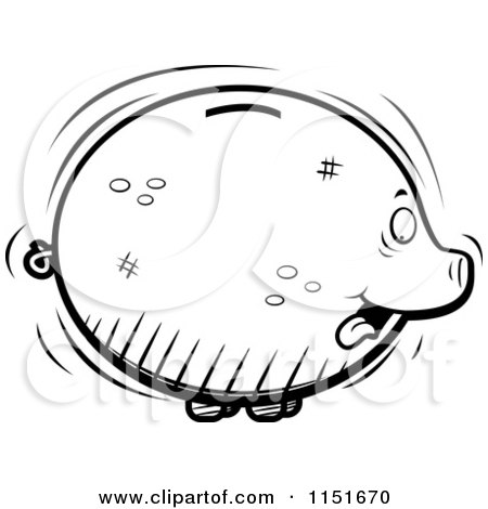 Cartoon Clipart Of A Black And White Fat Piggy Bank Sticking Its Tongue out - Vector Outlined Coloring Page by Cory Thoman