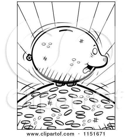 Cartoon Clipart Of A Black And White Fat Piggy Bank On A Pile Of Coins - Vector Outlined Coloring Page by Cory Thoman