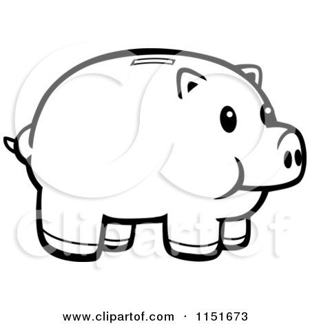 Cartoon Clipart Of A Black And White Piggy Bank - Vector Outlined Coloring Page by Cory Thoman