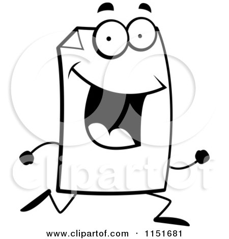 Cartoon Clipart Of A Black And White Happy Paper Character Running - Vector Outlined Coloring Page by Cory Thoman
