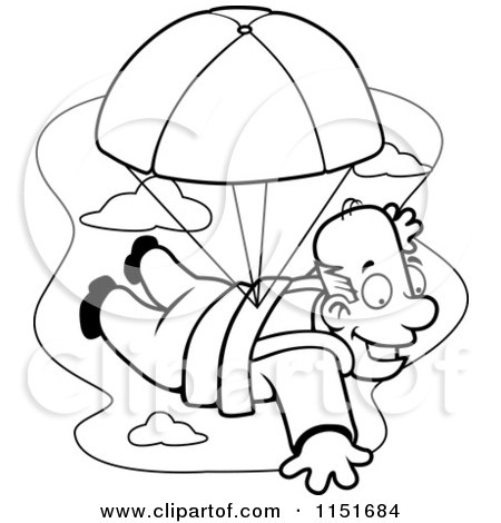 Cartoon Clipart Of A Black And White Happy Man Parachuting - Vector Outlined Coloring Page by Cory Thoman