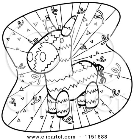 Cartoon Clipart Of A Black And White Donkey Pinata and Confetti - Vector Outlined Coloring Page by Cory Thoman