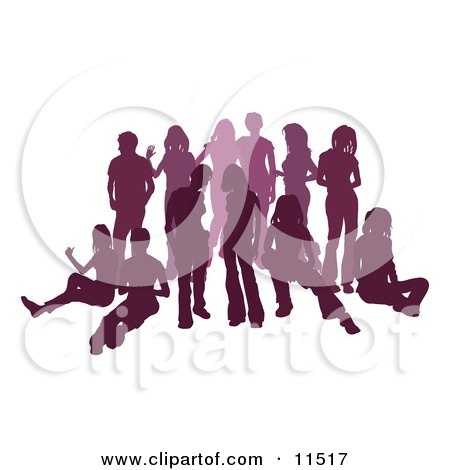 Purple Group of Silhouetted People Hanging Out in a Crowd Clipart Illustration by AtStockIllustration
