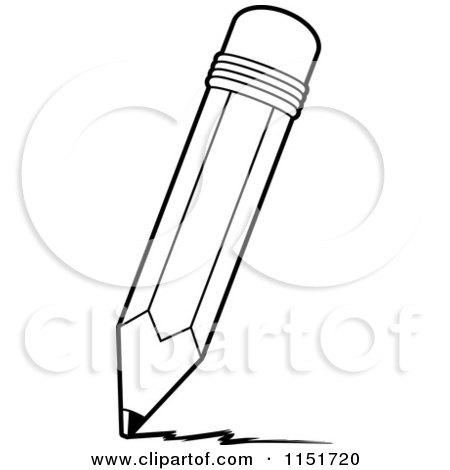 Cartoon Clipart Of A Black And White Pencil Writing ...