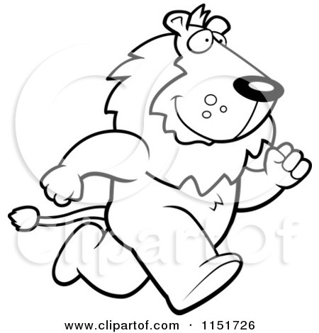 Cartoon Clipart Of A Black And White Lion Running Upright on His Hind Legs - Vector Outlined Coloring Page by Cory Thoman
