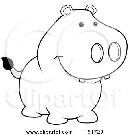 Cartoon Clipart Of A Black And White Pig Smiling - Vector ...