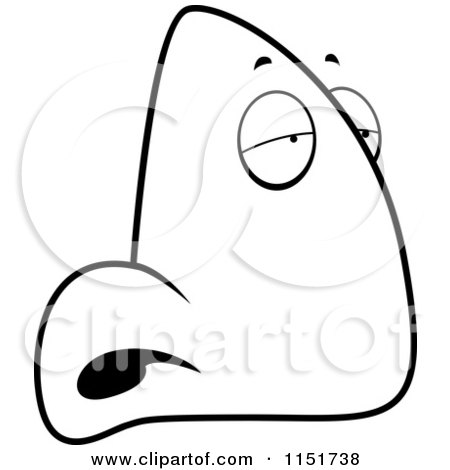 Cartoon Clipart Of A Black And White Sick Nose Character In Profile