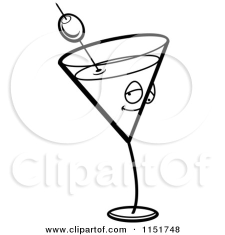 Cartoon Clipart Of A Black And White Martini Character - Vector Outlined Coloring Page by Cory Thoman