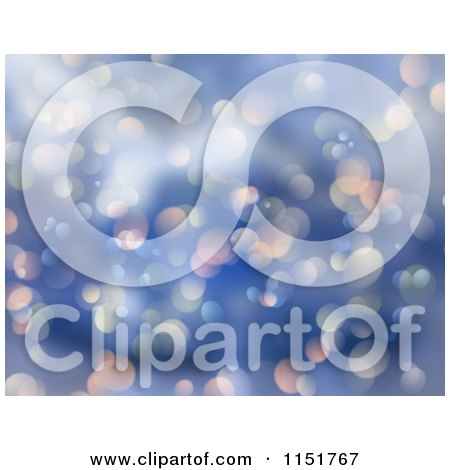 Clipart of a Blue Christmas Bokeh Background 2 - Royalty Free Illustration by KJ Pargeter