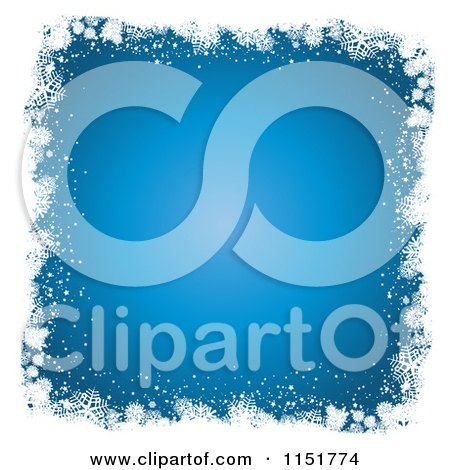 Clipart of a White Grungy Snowflake Border with Blue Copyspace - Royalty Free Vector Illustration by KJ Pargeter
