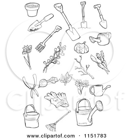 Clipart of Outlined Garden Tools - Royalty Free Vector ...