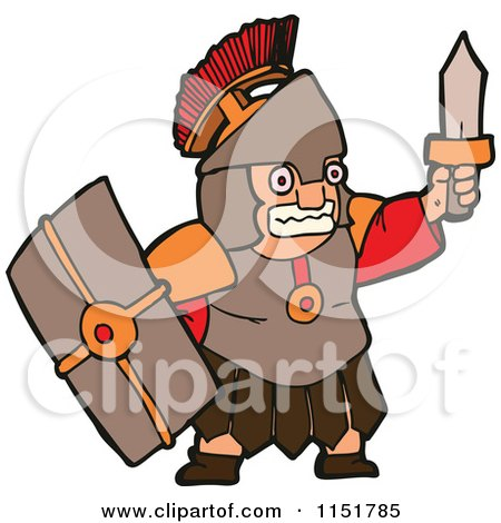 Cartoon of a Roman Warrior Holding up a Sword - Royalty Free Vector Illustration by lineartestpilot
