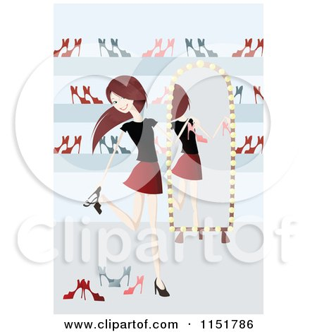 Clipart of a Happy Young Woman Shoe Shopping - Royalty Free Vector Illustration by lineartestpilot
