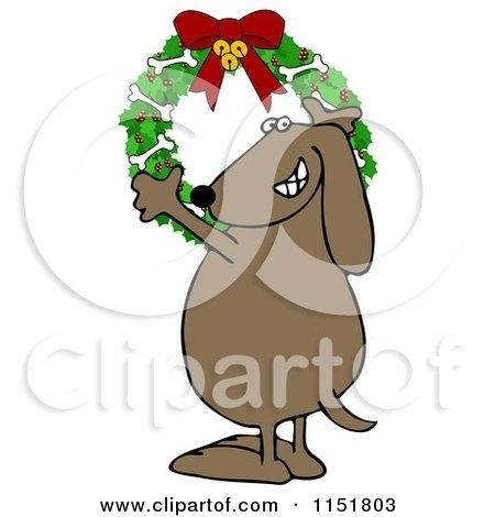Cartoon of a Happy Dog Hanging a Christmas Bone Wreath - Royalty Free Illustration by djart