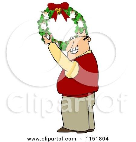 Cartoon of a Happy Man Hanging a Christmas Angel Wreath - Royalty Free Illustration by djart