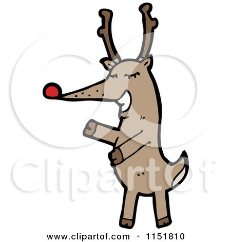 Cartoon of a Red Nosed Reindeer - Royalty Free Vector Illustration by lineartestpilot