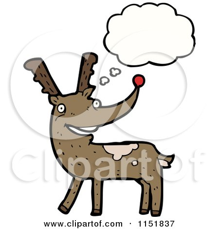 Cartoon of a Thinking Christmas Reindeer - Royalty Free Vector Illustration by lineartestpilot