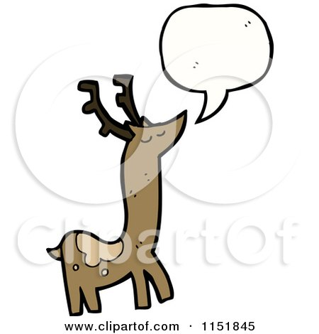 Cartoon of a Talking Christmas Reindeer - Royalty Free Vector Illustration by lineartestpilot
