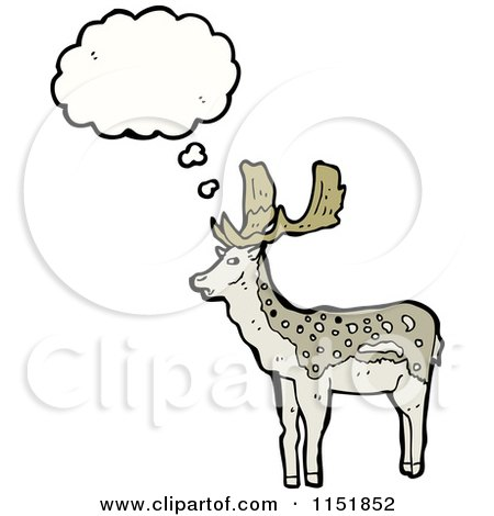 Cartoon of a Thinking Buck Deer - Royalty Free Vector Illustration by lineartestpilot