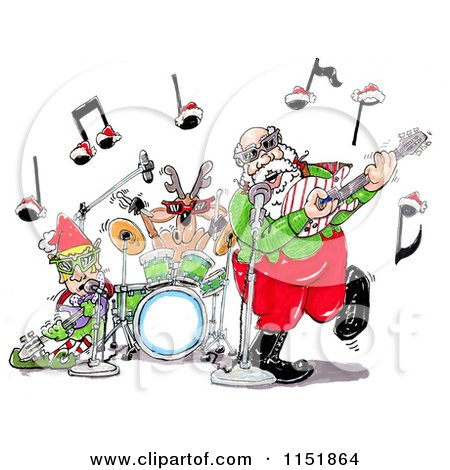 Cartoon of Santa an Elf and Reindeer in a Rock and Roll Christmas Band - Royalty Free Illustration by Spanky Art