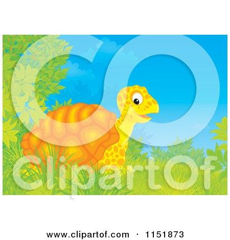 Cartoon of a Happy Tortoise and Shrubs - Royalty Free Illustration by Alex Bannykh